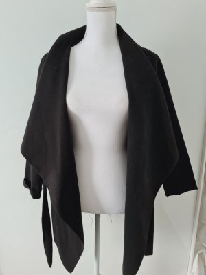 Fleece dünner Mantel Trenchcoat zum binden Jacke Übergangsjacke in schwarz S