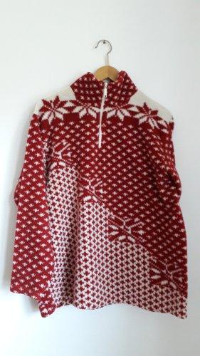 Fleece Pulli vintage oversized mit winterlichem Muster