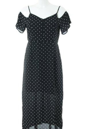fleur bleue schulterfreies Kleid schwarz-weiß Punktemuster Casual-Look