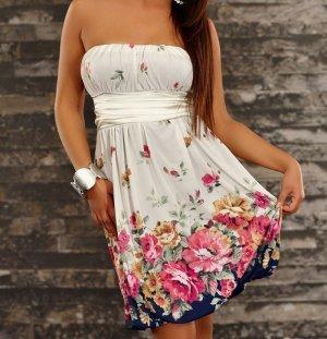 FLEUR schulterfreies Sommerkleid mit leuchtendem Blumenmuster kurzes Kleid Gr 38