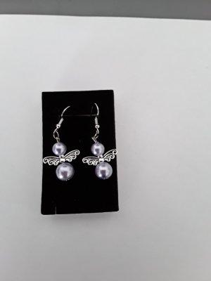 Kolczyk z perłą srebrny-liliowy