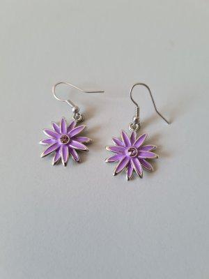 Wiszące kolczyki srebrny-liliowy