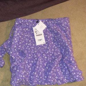 Zara Falda pantalón blanco-lila