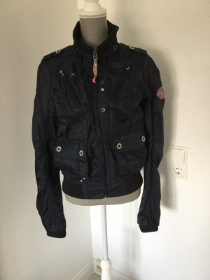 Flight Jacket dark blue-neon red