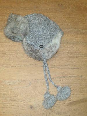 Fliegermütze aus Wolle mit Fell