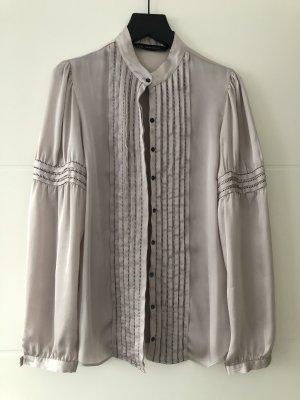 Zara Jedwabna bluzka kremowy