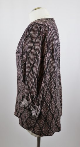 Fließend Schlupfbluse Tunika Bluse Liberty Größe XL 42 Schwarz Braun Rose Rosa V-Neck Afrika Rauten Karo Muster Viskose