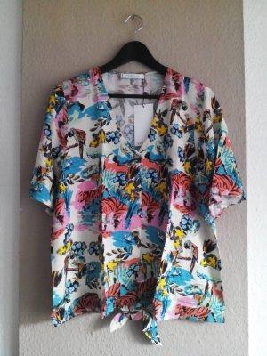 Fließende Bluse in Tropical Print aus 100% Viskose, Größe M, neu