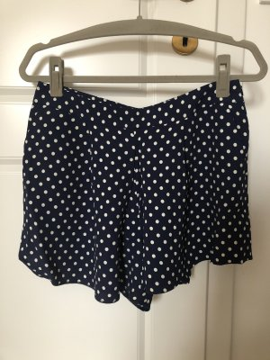 Fließende High Waist Shorts Polkadots marine