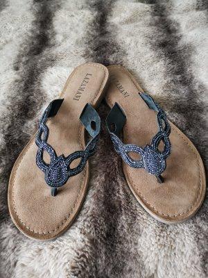Lazamani Sandalo toe-post argento-grigio