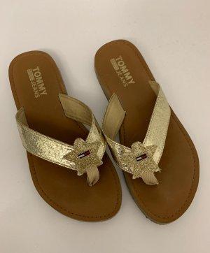 Tommy Hilfiger Flip-Flop Sandals light brown-gold-colored