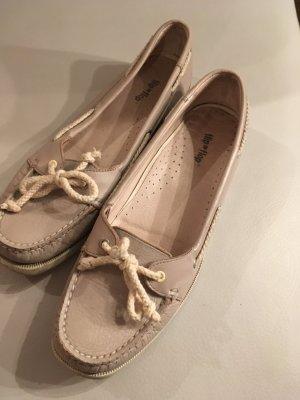 Flip*flop Zapatos de marinero gris claro-blanco Cuero