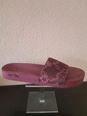 Flip*flop Zomerschoenen met hak braambesrood Textielvezel