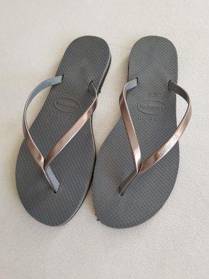 Flip Flop Sandalen, Havaianas slim, silber grau Größe 37/38