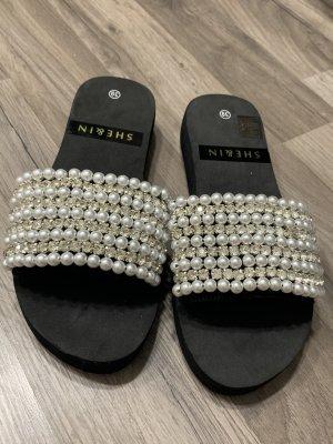 SheIn Flip-Flop Sandals black-silver-colored