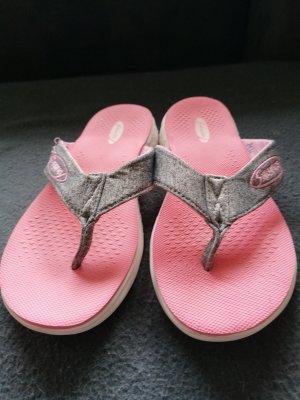 Sandalias de tacón con barra en T gris claro-rosa