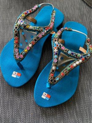 Flip-Flop Sandals neon blue-silver-colored