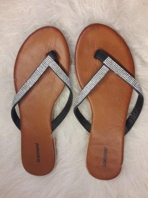 Deichmann Flip-Flop Sandals black-silver-colored