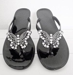 Flip Flops mit Schmetterling, schwarz Größe 40, neu