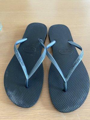 Havaianas Flip-Flop Sandals black-silver-colored