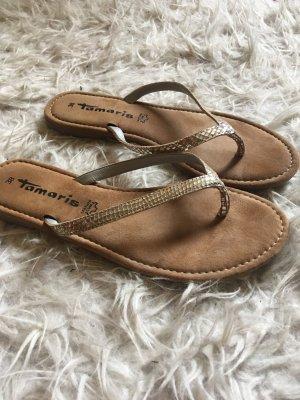 Tamaris Flip-Flop Sandals silver-colored-light brown