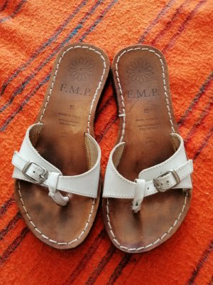 Sandały japonki z rzemykami biały-brązowy