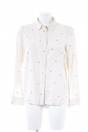 Flolove Paris Hemd-Bluse creme-dunkelrot Sternenmuster Street-Fashion-Look