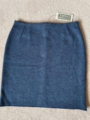 Jupe tricotée bleu azur-bleu acier