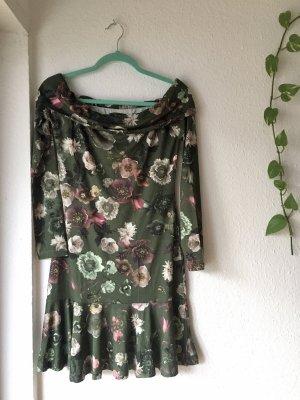 Triton Vestido estilo flounce verde oliva-rosa