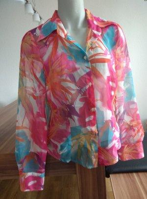 florale, bunte, leich transparente Bluse von Bandolera