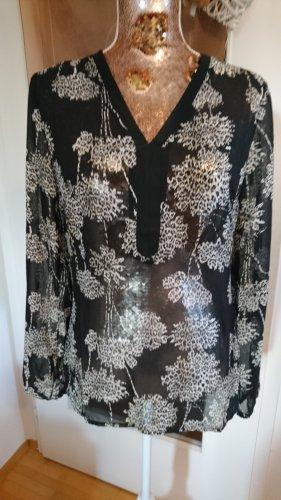 Florale Chiffon Bluse schwarz weiß Gr. S