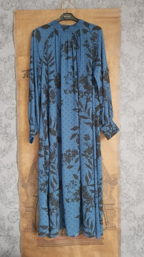 Florales Maxi Chiffonkleid,  blau/schwarz