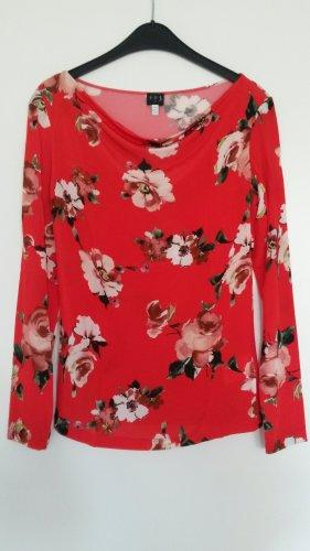 123 Paris Camisa con cuello caído rojo