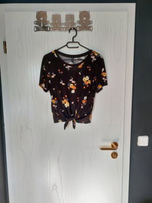 florales T-Shirt mit Bindung unten