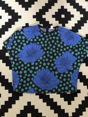 Flower dot print oversize shirt