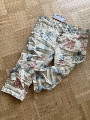 Flower Italy Capri Jeans - Beige/Color - CrashLook - Flower - Größe M 38