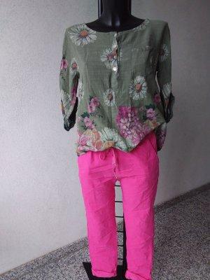 Made in Italy Blusa con collo alla coreana rosa-cachi