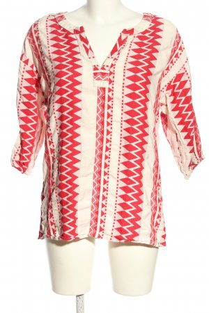 flowers for friends Tunikabluse creme-rot grafisches Muster Casual-Look