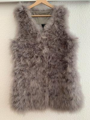 NÜ Denmark Gilet en fourrure argenté-gris clair