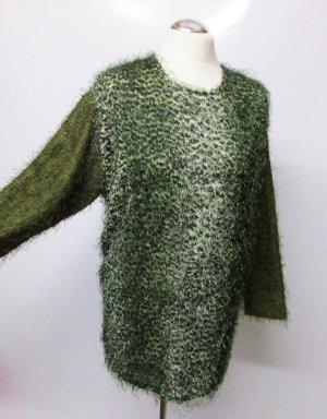 Fluffiger Vintage 80er Strick Pullover Eve Paris Größe L 42 Grün Dunklegrün Olivgrün Leo Leoparden Muster Fransen Effektgarn Oversize Strickpullover Pulli