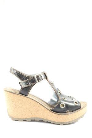 Fly High Heel Sandaletten schwarz-wollweiß Casual-Look