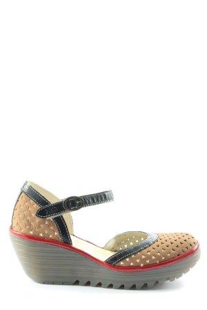 Fly london Wedges Sandaletten khaki-schwarz Casual-Look