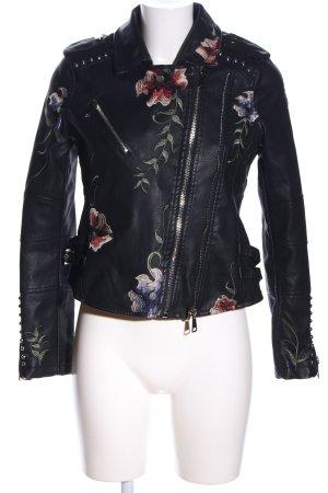 FLY MODA Faux Leather Jacket flower pattern casual look