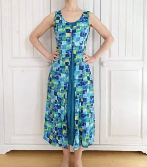 Folia Kleid True Vintage Oversize blau grün Sommerkleid Sommer maxikleid maxirock rock Blumen dress