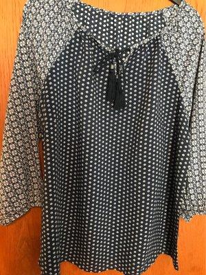 0039 Italy Carmen blouse wit-donkerblauw