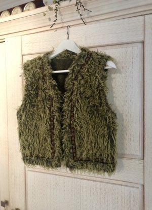 Vintage Futrzana kamizelka oliwkowy-zielono-szary Poliester
