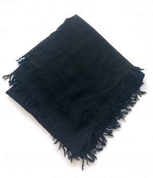 for friends only Écharpe à franges noir tissu mixte