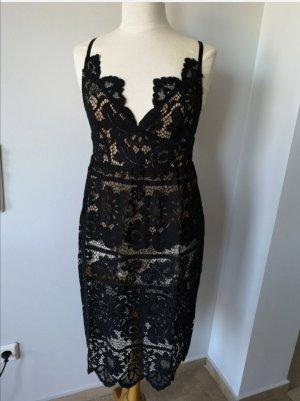 For Love & Lemons Kanten jurk zwart-nude