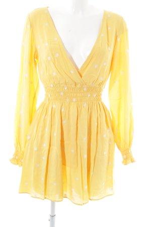 For Love & Lemons Blusenkleid blassgelb Punktemuster Casual-Look