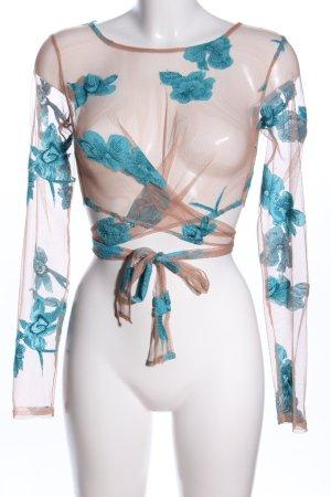 For Love & Lemons Cache-coeur rose chair-turquoise motif de fleur élégant